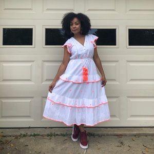 J. Crew White Embroidered Midi Dress Size 6